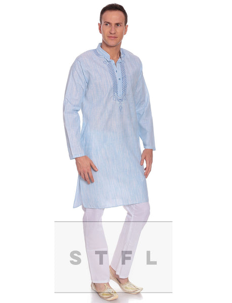 Men's Kurta Pyjama Blue Cotton kurta with pyajama - LoveThisStuff.com