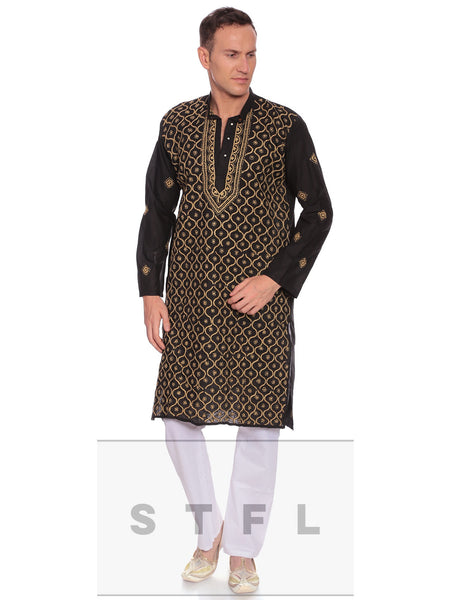 Men's Kurta Pyjama Black kurta and white pyajama - LoveThisStuff.com