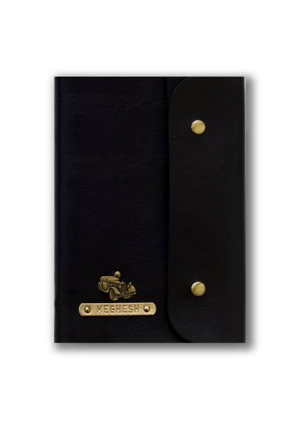 Personalised Black Button Diary