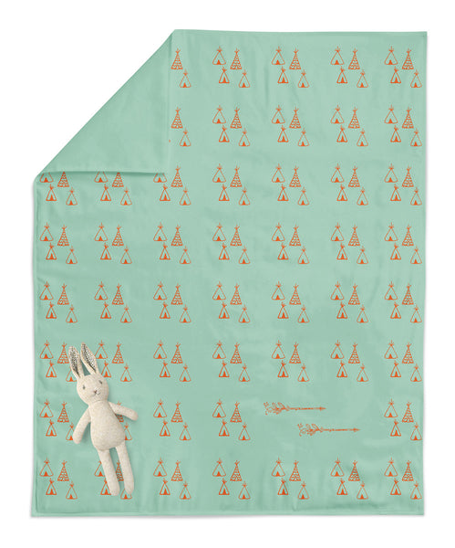 Teepee and Arrows Mint Baby Blanket