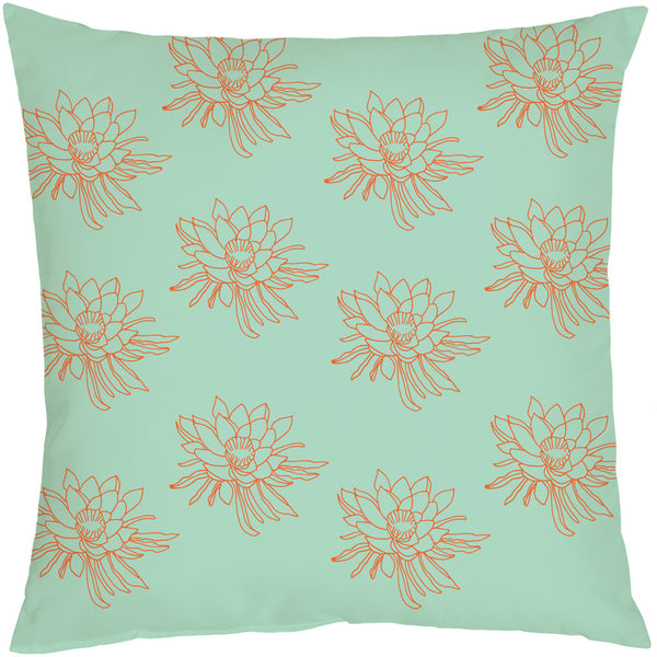 Night Bloom Flowers Mint Cushion Cover - LoveThisStuff