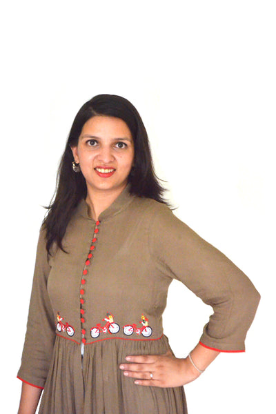 Women's Kurta Bicycle Embroidered Kurta - LoveThisStuff.com
