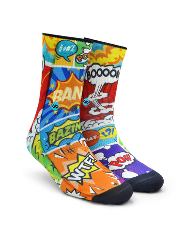 Unisex Socks Comic crash Unisex Crew socks - LoveThisStuff.com