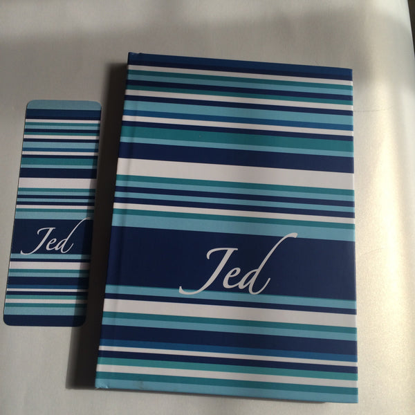 Diary Blue Stripe Notebook with Bookmark - LoveThisStuff.com