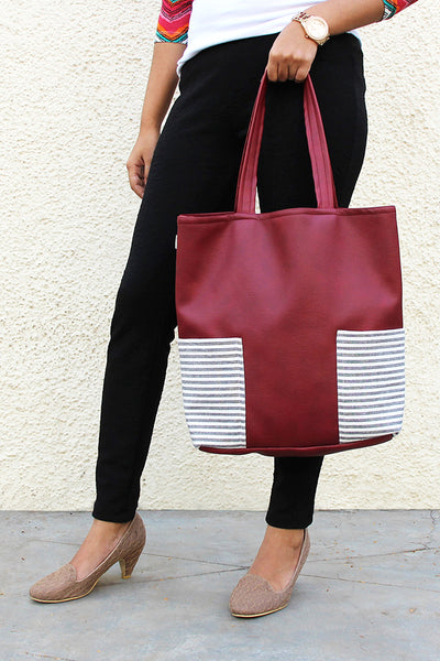 Tote Bag with Side Pocket Burgandy