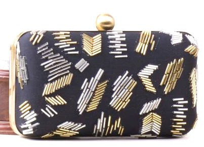 Women's Clutch Bag Black & Gold Zig-Zag pattern clutch - LoveThisStuff.com