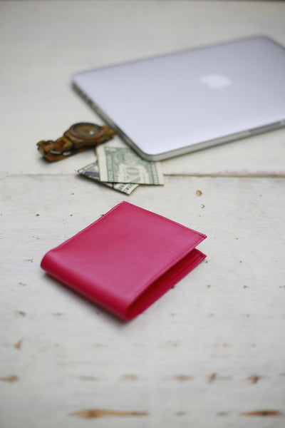 Wallet-Dark Pink Leather Bifold w