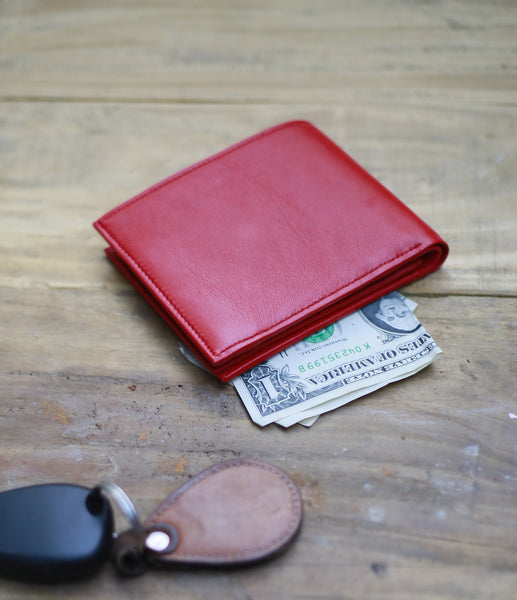 Wallet with ID Flap-Red Leather