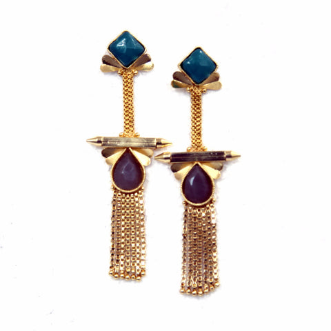 Long earrings Aanam Brass-Swarovski Earrings - LoveThisStuff.com