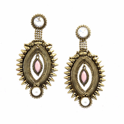 Aesha Brass-Swarovski Earrings