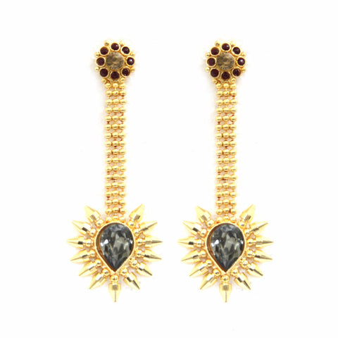 Aludra Brass-Swarovski Earrings