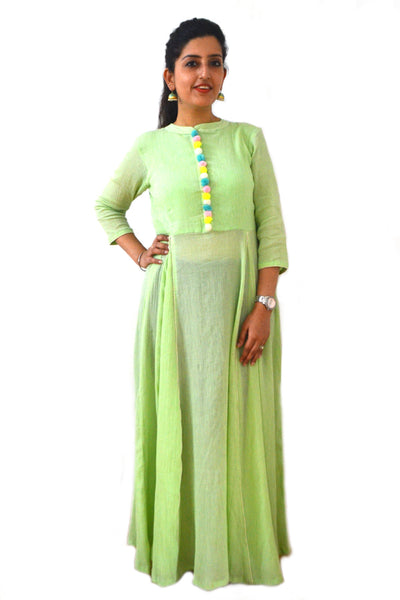 Sea green Pom Pom Kurta - LoveThisStuff