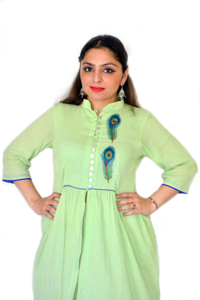 Sea green peacock leaf kurta - LoveThisStuff