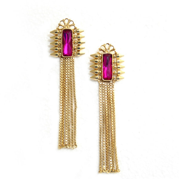 Long earrings Farmehna Brass-Swarovski Earrings - LoveThisStuff.com