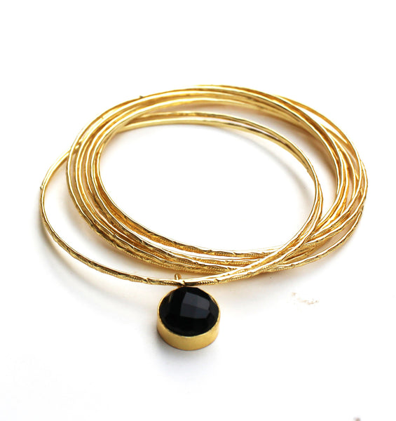 Women's Bangles Bangles With Black Stone Charms - LoveThisStuff.com