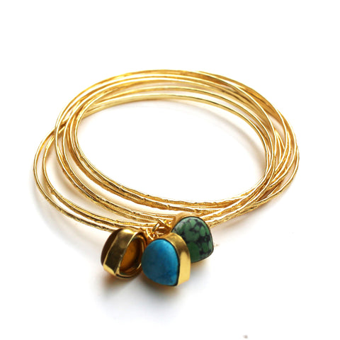 Bangles With Semi-Precious Stone Charms II