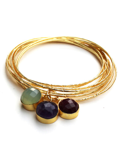 Bangles With Semi-Precious Stone Charms
