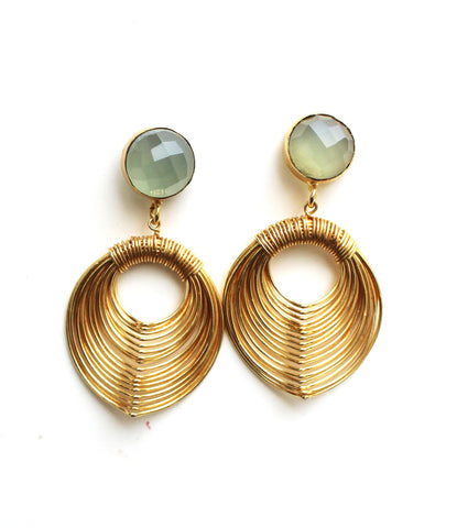 Aqua Chalcedony Wire Mash Drop Earrings