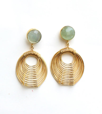 Aqua Chalcedony Wire Mash Earrings
