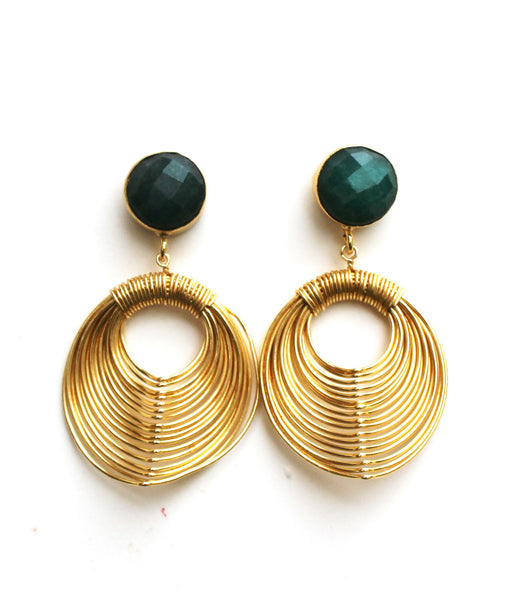 Dangle earrings Emerald Studd Wire Mash Earrings - LoveThisStuff.com