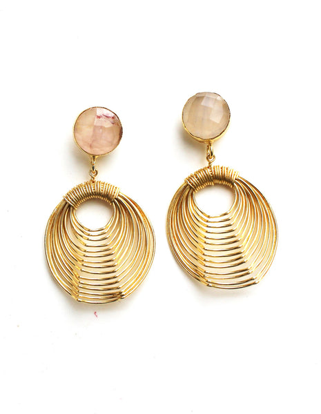 Rose Quartz Wire Mash Earrings
