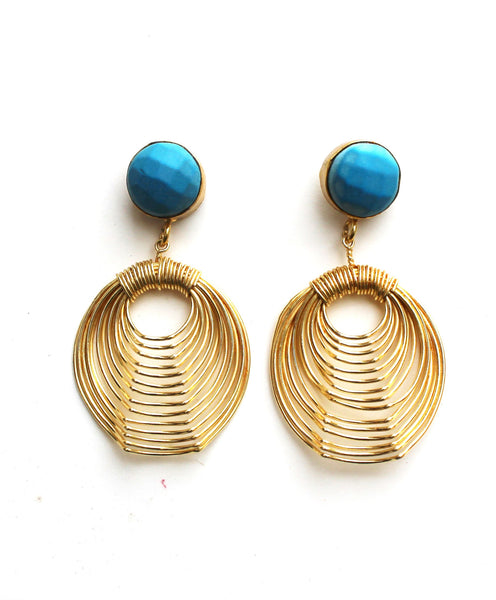 Turquoise Wire Mash Earrings