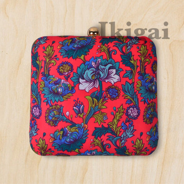 Vintage red & blue floral clutch