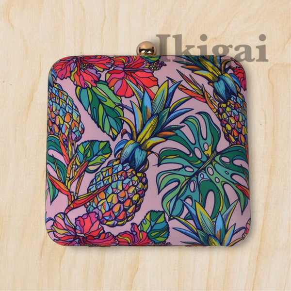 Tropical pineapple clutch sling bag