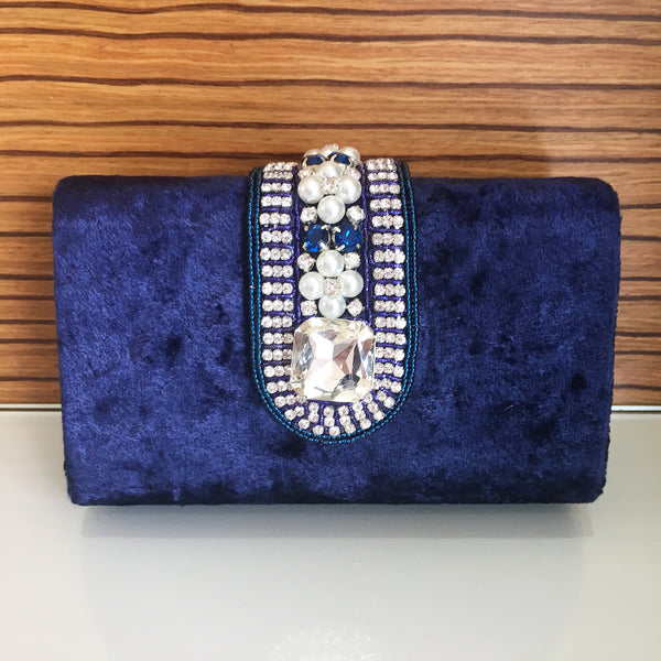 Women's Clutch Bag Blue Velvet Embellished Clutch - LoveThisStuff.com