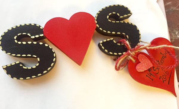 Wooden couple initials black