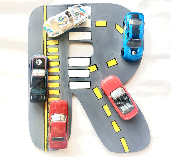 Racing track alphabets with cars - LoveThisStuff