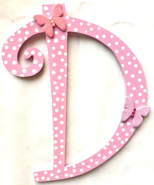 Polka dot letter with butterflies - LoveThisStuff