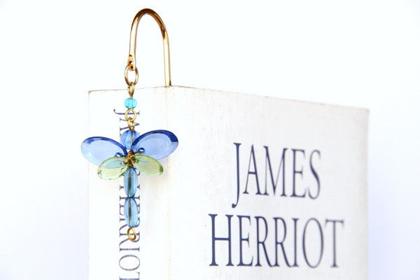 Bookmark Brass Bookmark Dragonfly Blue - LoveThisStuff.com