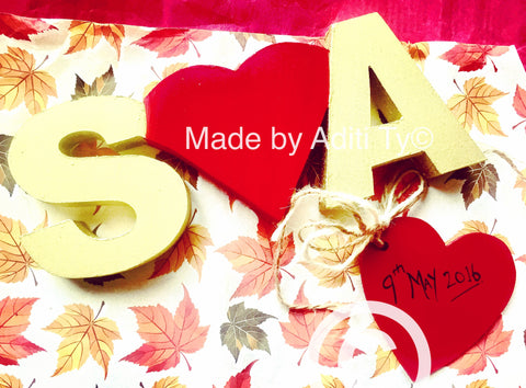 Wooden couple initials