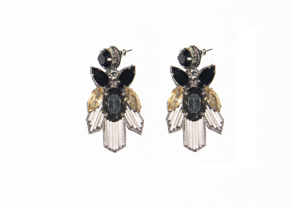 Antique Gold Black Earrings