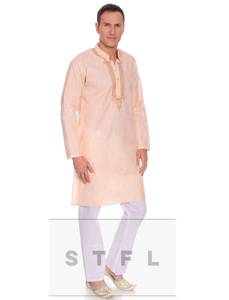 Pastel peach kurta and pyajama