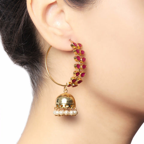 Traditional Red Leaf Jhumka Earrings