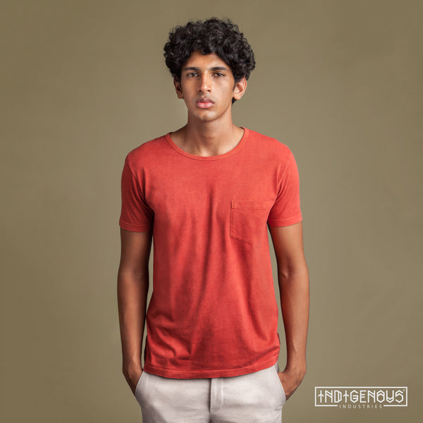 Natural Colors; Red Staple Tee for Men