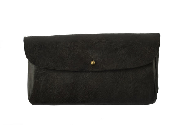 LEATHER ENVELOPE CLUTCH - BLACK - LoveThisStuff