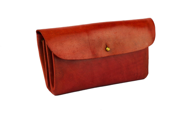 Reddish Pink Genuine Leather Clutch