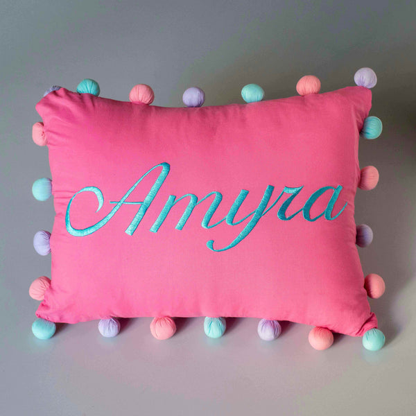 Personalised Pom Pom Pillow (Girl)