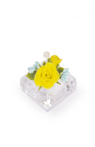 Yellow and Blue Flower Ring Box