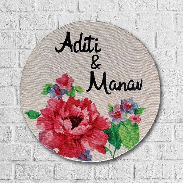 Red Rose on canvas nameplate