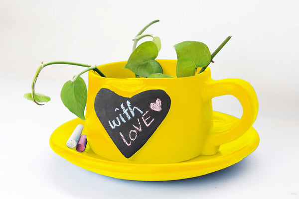 Write-on-me planter Heart Yellow