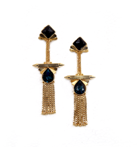 Long earrings Aadima Brass-Swarovski Earrings - LoveThisStuff.com