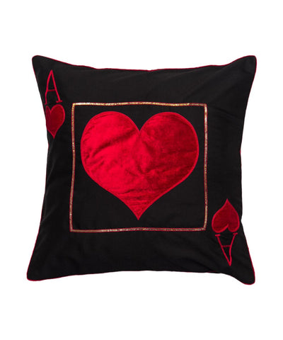 Cushion Cover Ace Of Heart Black Cushion Cover - LoveThisStuff.com