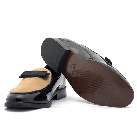 Men's Formal Shoes DELTA - GLOSSY BLACK/BEIGE - LoveThisStuff.com
