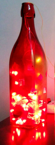 Wine Red Glass Bottle Lamp