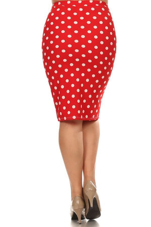 Pencil Skirt Red and White Polka Dot (Including Curvy)
