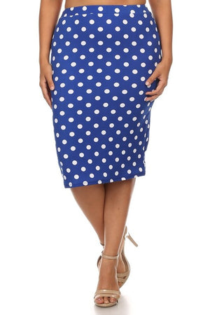 Pencil Skirt Royal Blue and White Polka Dot (Including Curvy)
